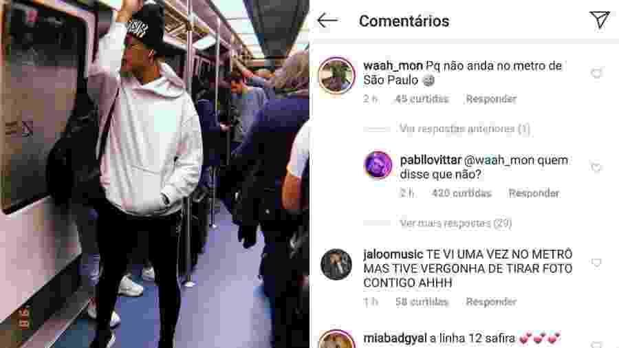 Pabllo Vittar posta foto em metrô na Espanha e rebate seguidor - Reprodução/Instagram