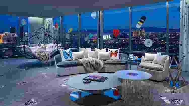 Imagens típicas de obras de Hirst, borboletas aparecem em diversos lugares da Empathy Suite - Divulgação/Palms Casino Resort