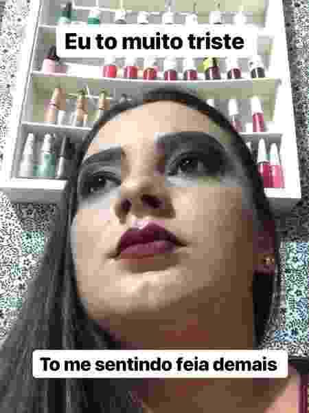 Eliza com maquiagem feita à época: resolveu chegar em casa e tirar todos os produtos - Arquivo Pessoal