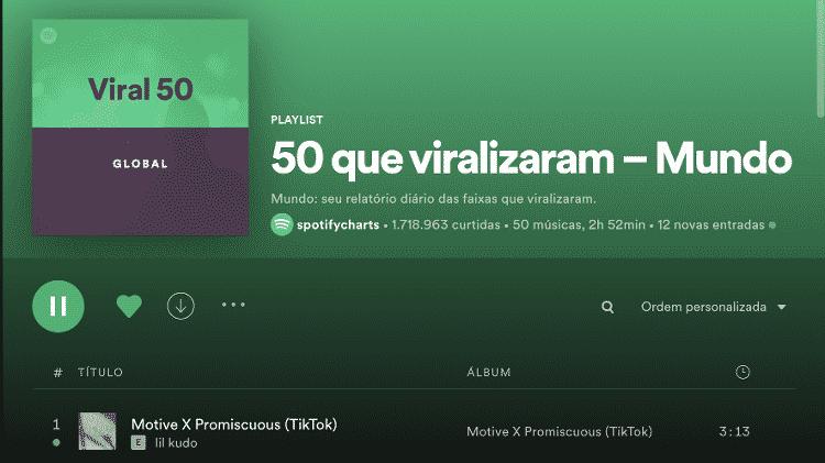 Ranking 50 que Viralizaram - Mundo, do Spotify - Reprodução / Spotify - Reprodução / Spotify
