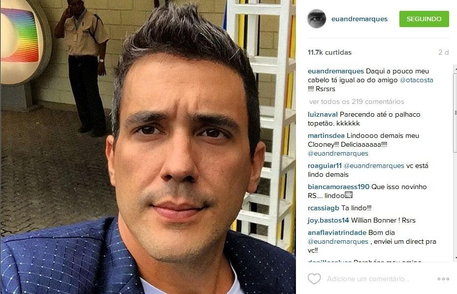 André Marques durante a gravação da vinheta de fim de ano da Globo no Projac