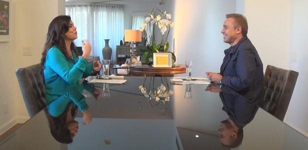 Gisele Fraga conversa com Gugu sobre as agressões que sofreu do ex-namorado - Divulgação/TV Record