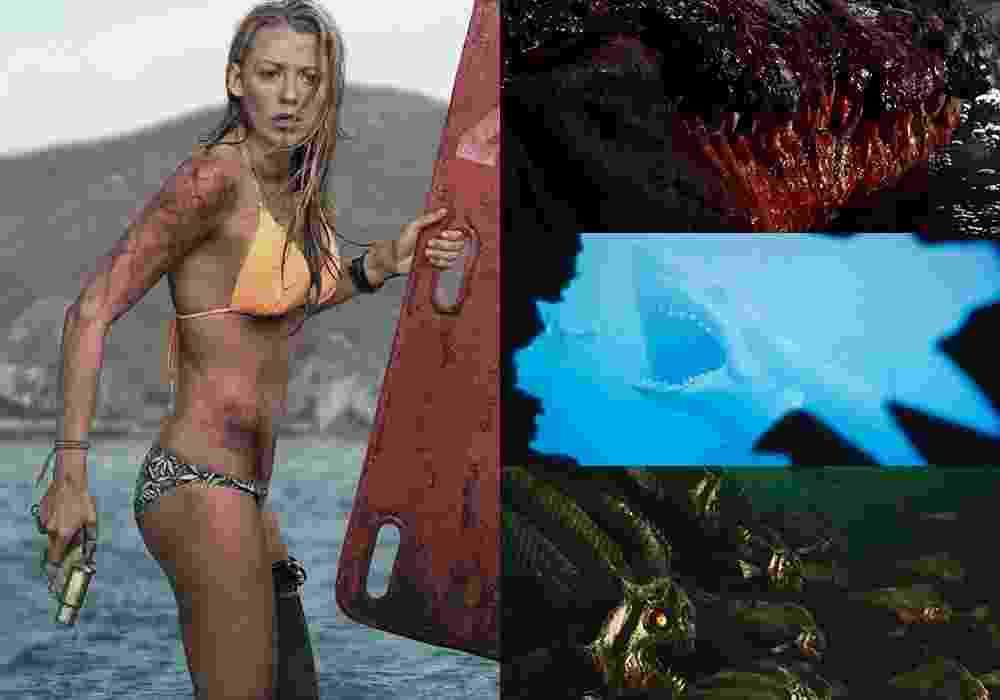 """Cenas dos filmes """"Águas Rasas"""" (2016) , """"Pânico no Lago: O Capítulo Final"""" (2012), """"Tubarão"""" (1975) e """"Piranha 3D"""" (2010) - Montagem/Reprodução"""