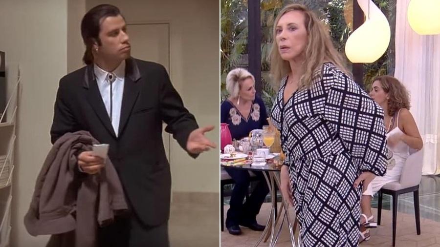 """John Travolta """"confuso"""" no filme """"Pulp Fiction"""" e Arlette Salles """"confusa"""" no programa """"Mais Você"""" - Montagem/UOL/Reprodução/TV Globo"""