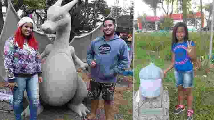Moradores tiram fotos de estátuas de Pókemon em praça de Suzano (SP) - Reprodução