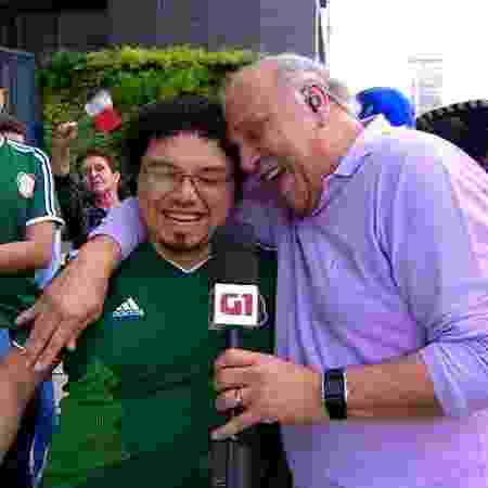 """Márcio Canuto abraça cônsul do México no """"SP1"""" - Reprodução/TV Globo"""