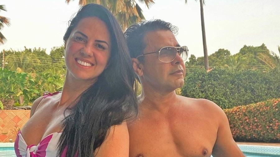 Graciele Lacerda e Zezé di Camargo se refrescaram em piscina  - Reprodução/Instagram @gracielelacerdaoficial
