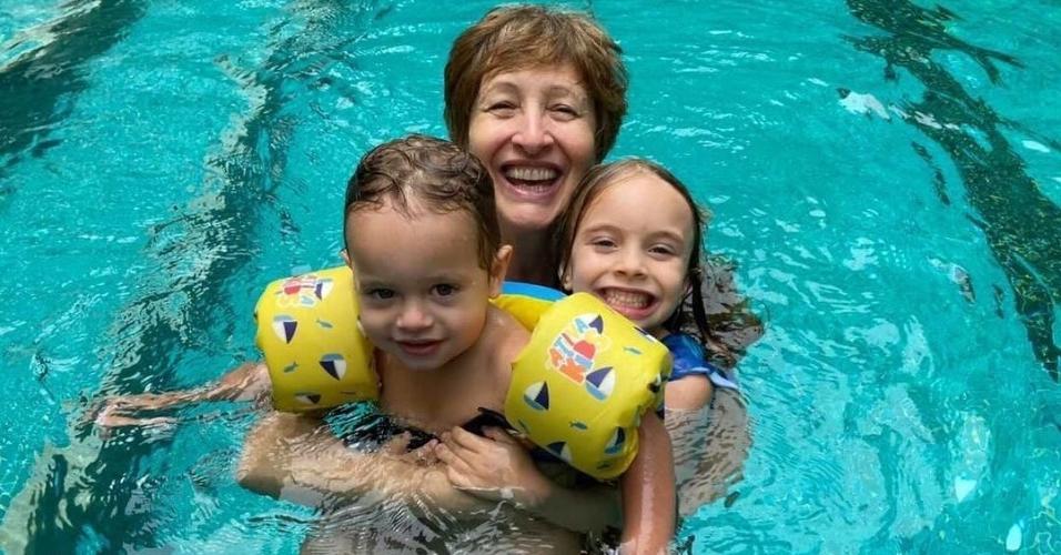 Rafael Cardoso mostrou Sônia Bridi com os netos