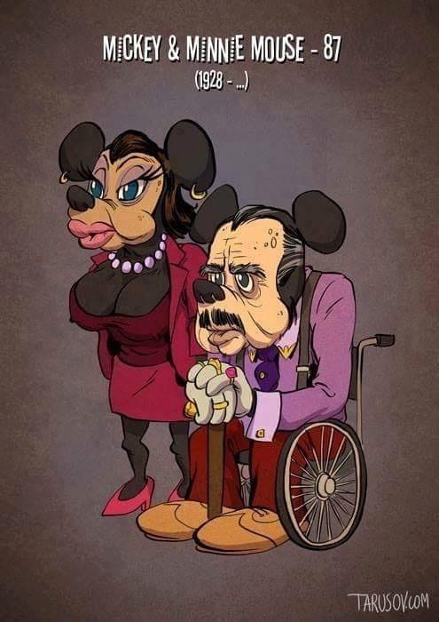 Ilustrador russo Andrew Tarusov faz versões idosas de Mickey e Minnie