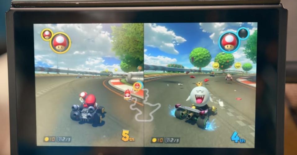 """Como é tradição na Nintendo, você poderá jogar """"Mario Kart"""" em tela dividida no Switch"""