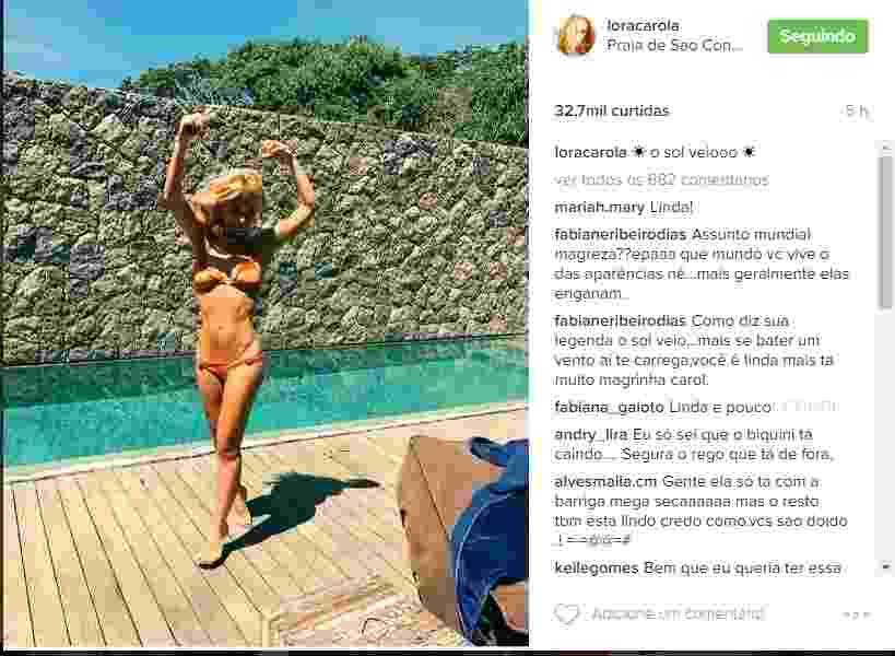 29.out.2016 - Carolina Dieckmann comemorou o sábado ensolarado no Rio com uma foto de biquíni nas redes sociais. Por conta da magreza, a atriz recebeu comentários elogiosos e outros nem tanto - Reprodução/Instagram/loracarola
