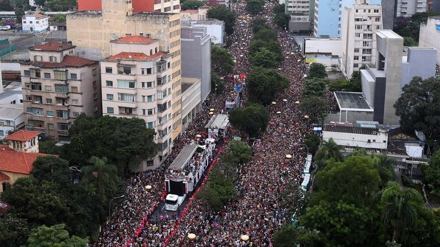 Bloco Acadêmicos do Baixo Augusta arrastou multidão ao centro de SP em 2018 - Gabriela Biló/Estadão Conteúdo