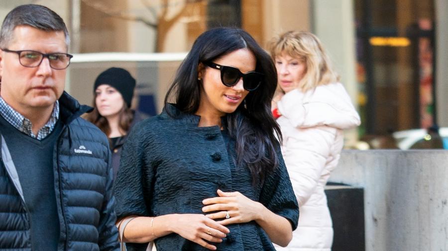 Meghan em Nova York para o seu primeiro chá de bebê, em 19 de fevereiro - Getty Images