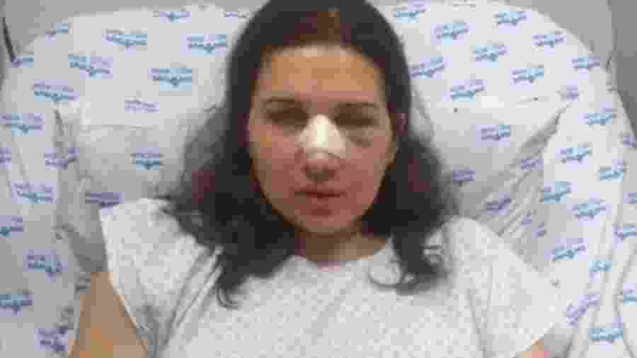 A assessora do ator Felipe Titto, Jessica Varrasquim, em vídeo gravado após cirurgia - Reprodução/TV Globo