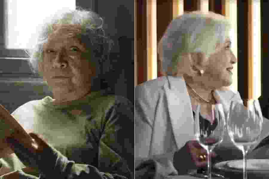 Em A Dona do Pedaço, Gladys aceita dar aulas de etiqueta a Cornélia (Betty Faria), que ficou milionária após ganhar na loteria. Já em - Fotomontagem/Reprodução/Globo