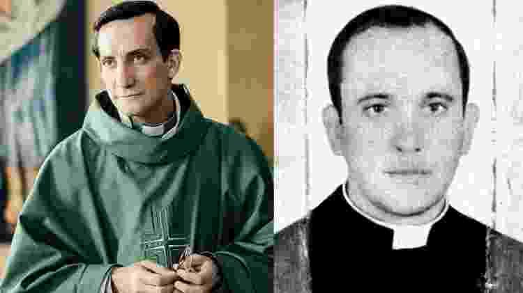 O ator Juan Minujín como o jovem Jorge Mario Bergoglio, ao lado de foto real - Divulgação/Reprodução