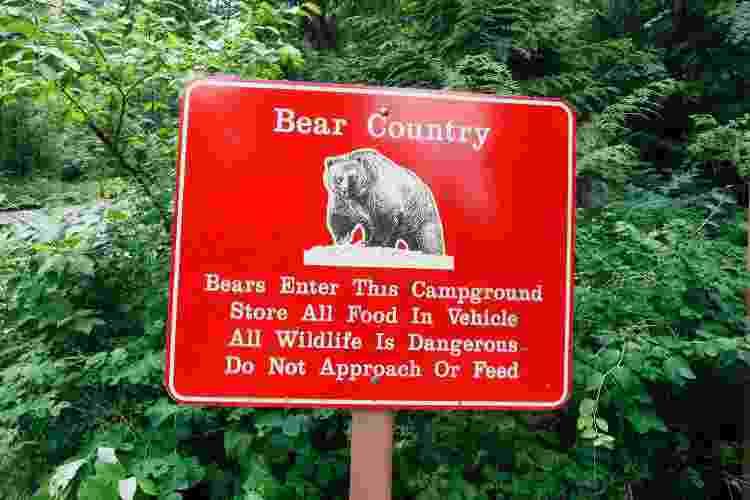 Placa no Glacier National Park, em Montana (EUA), orienta a deixar a comida dentro do carro e a não alimentar ou se aproximar dos ursos - Getty Images - Getty Images