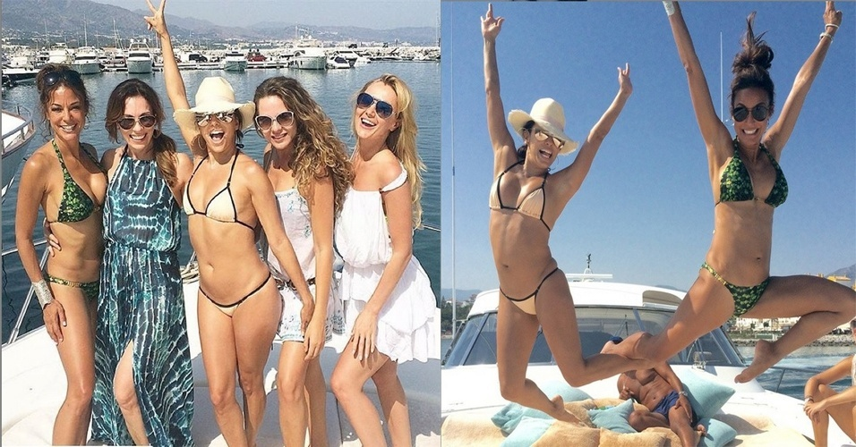 6.jul.2015 - Na tarde desta segunda-feira (6), Eva Longoria mostrou que continua em boa forma. A atriz, que está com 40 anos, compartilhou no Instagram duas fotos em que aparece de biquíni curtindo um passei com amigos em um iate no mar de Marbella, na Espanha