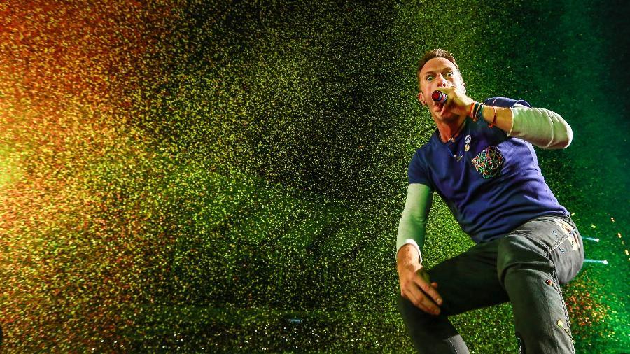 Chris Martin, vocalista do Coldplay, durante show no no Rio de Janeiro - Marco Antonio Teixeira/ UOL