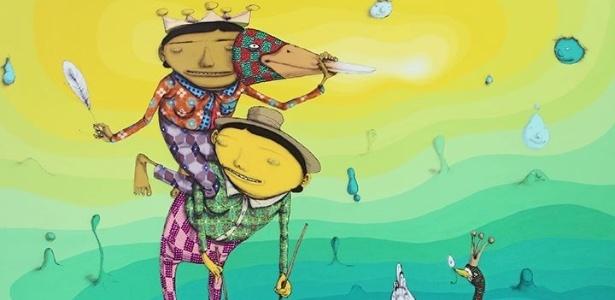 """Imagem da obra """"O Pato Rei"""", da dupla Osgemeos, parte da exposição """"Silence of the Music"""" - Divulgação/Osgemeos"""