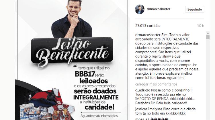 Marcos fará leilão com objetos usados no BBB - Reprodução/Instagram - Reprodução/Instagram