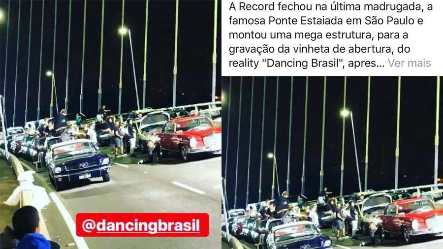 """Gravação da abertura do """"Dancing Brasil"""" na ponte Estaiada, em São Paulo, foi flagrada por internautas - Reprodução / Instagram"""