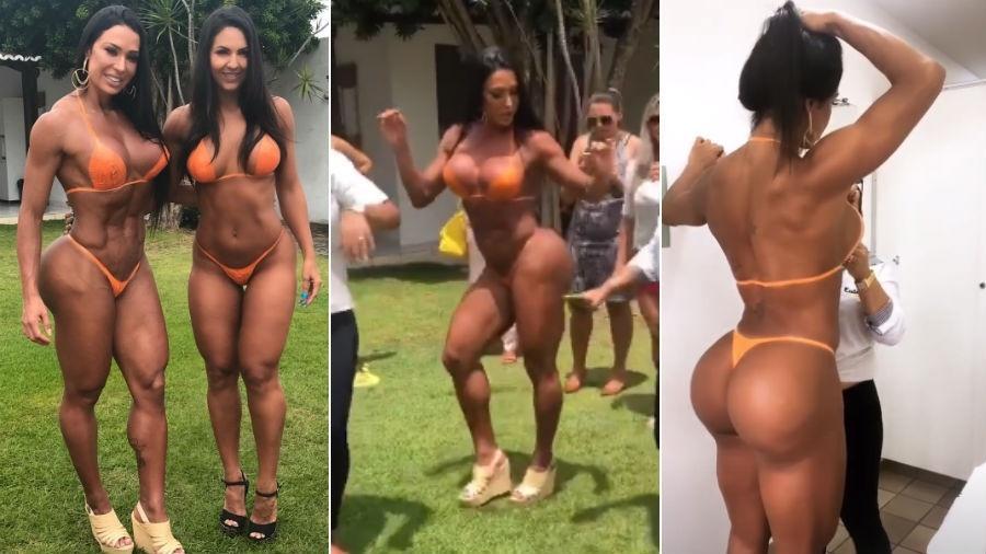 """Gracyanne Barbosa posa com """"sósia"""" e renova bronze com biquíni de fita adesiva - Reprodução/Instagram"""
