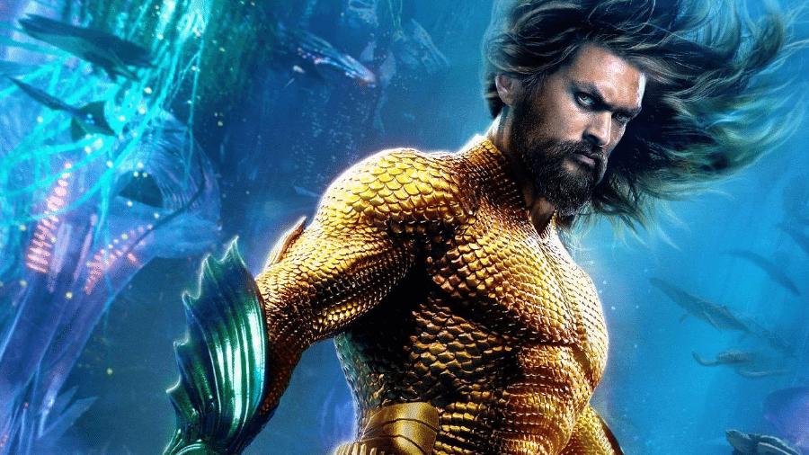 Aquaman e e seu traje clássico no filme - Reprodução