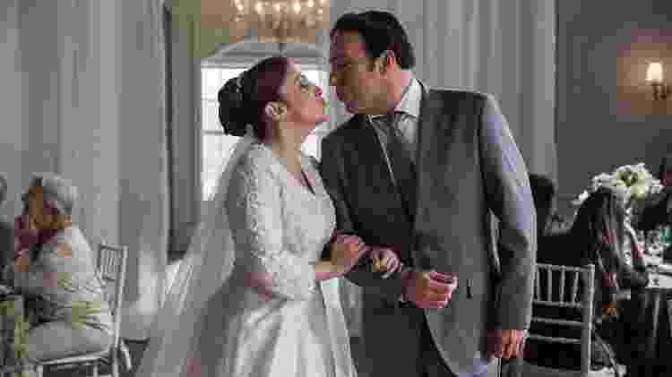 Abner (Marcelo Médici) e Latifa (Luana Martau) se casam em Órfãos da Terra - Raquel Cunha/Globo