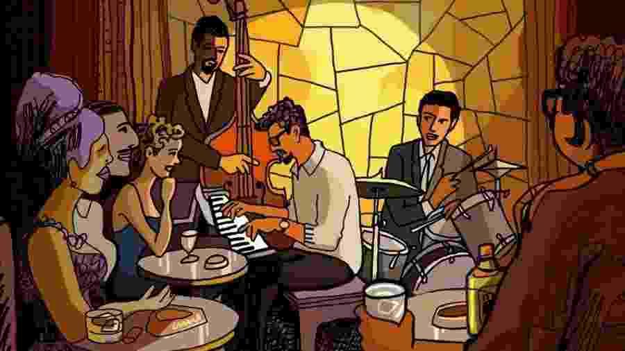 Imagem da animação They Shot The Piano Player - Reprodução/Trueba PC e Mariscal Studios
