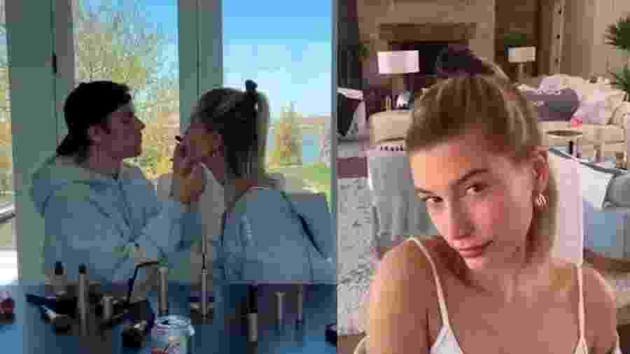 Justin Bieber faz maquiagem na espoasa, Hailey  - Reprodução/Facebook