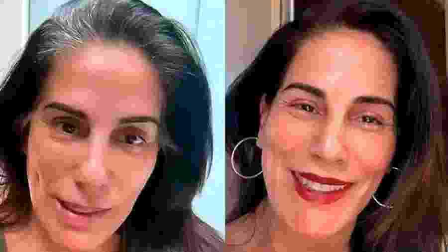 Glória Pires mostra antes e depois do processo de coloração dos cabelos - Reprodução/Instagram