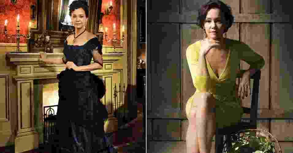 Dorotéia, personagem de Julia Lemmertz, que sempre foi elegante e agora, embora não tenha muito poder aquisitivo, mantém um estilo próprio ao se vestir - Divulgação/TV Globo
