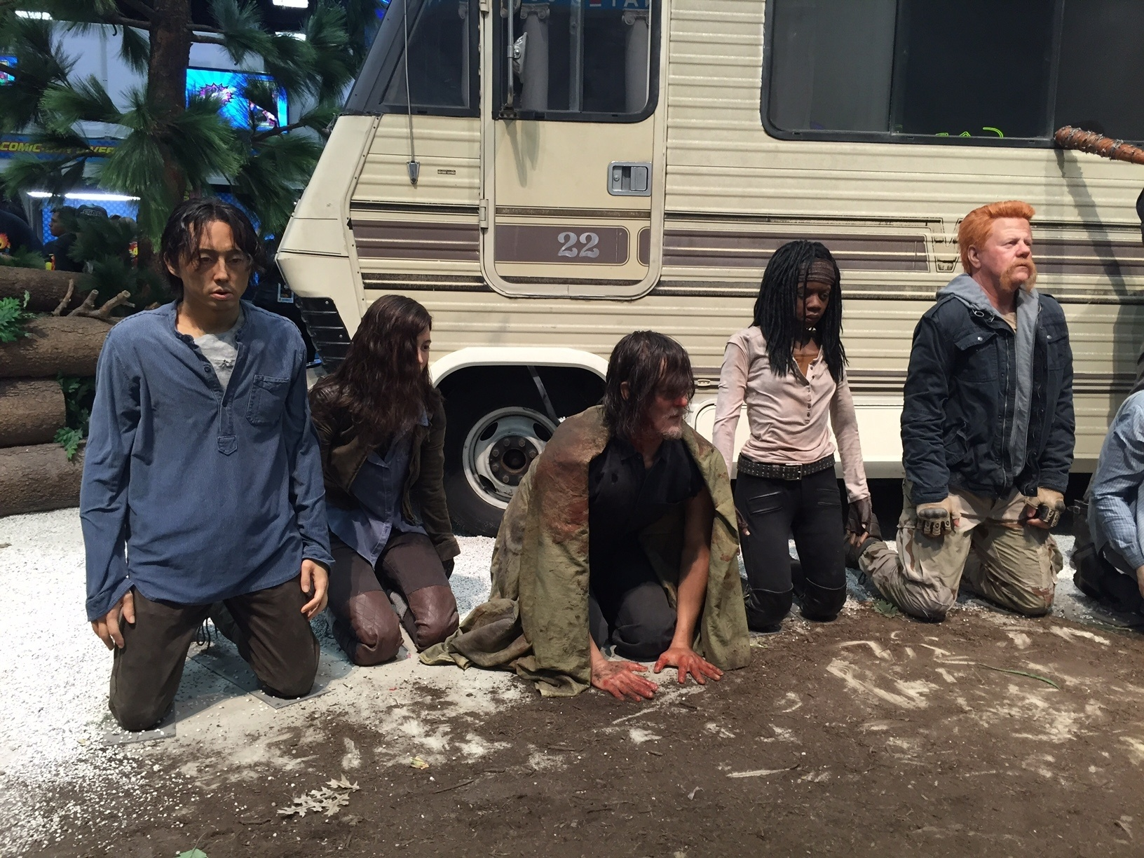 21.jul.2016 - Bonecos de cera da série Walking Dead, na San Diego Comic-Con 2016