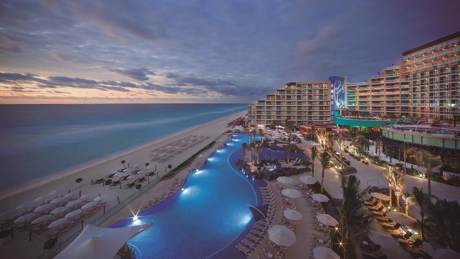 Visão aérea do Hard Rock Hotel em Cancun, no México - Divulgação/Hard Rock All-Inclusive Collection