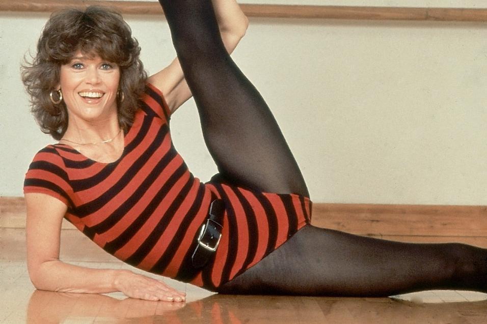 """Séries de exercícios de Jane Fonda eram """"febre"""" nos anos 80"""