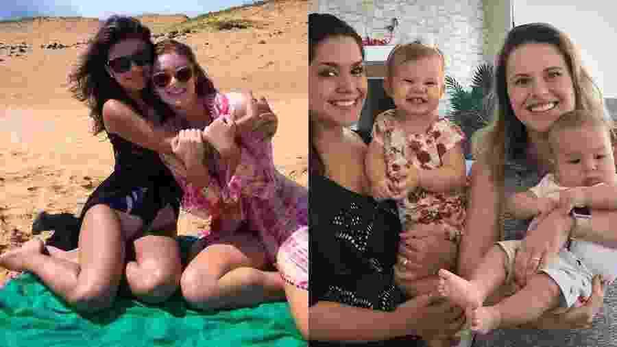 Paula Fernandes e Marina Ruy Barbosa (à esquerda); Thais Fersoza, com os filhos Melinda e Teodoro, e Mariana Bridi - Reprodução/Instagram