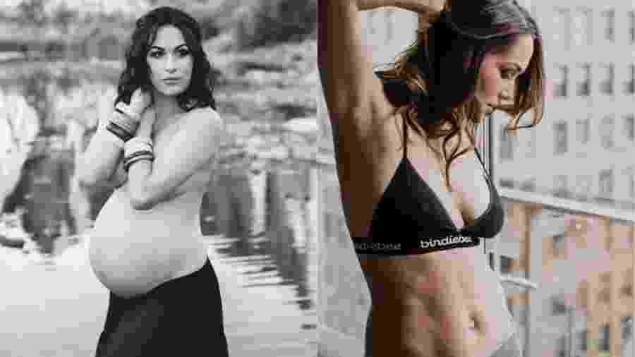 A lutadora de luta-livre Brie Bella durante a gravidez e atualmente, 9 meses após o parto - Reprodução/Instagram