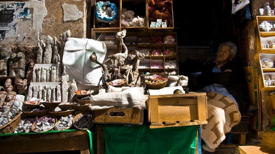 Em La Paz, loja do Mercado das Bruxas comercializa fetos de lhama - Getty Images