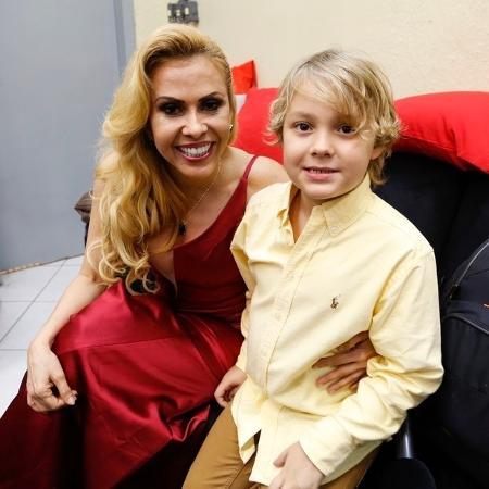 Davi Lucca e Joelma nos bastidores do evento no Instituto Neymar - Reprodução