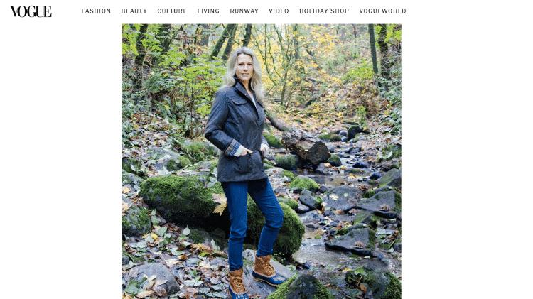 Em ensaio para a Vogue, a escritora Cheryl Strayed teve o corpo e o rosto completamente retocados - Reprodução/Vogue