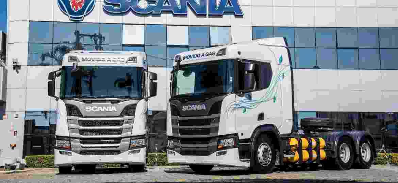 Caminhões da Scania movidos a GNV foram apresentados na última Fenatran - Divulgação