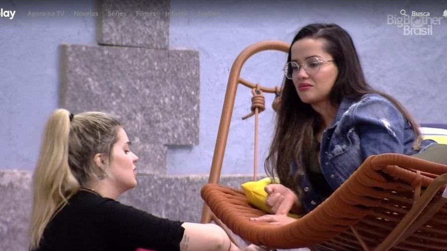 BBB 21: Viih Tube e Juliette conversam na área externa - Reprodução/ Globoplay