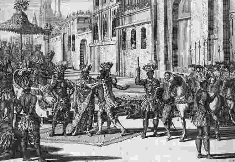 Em 1518, o encontro do explorador espanhol Hernando Cortez e Montezuma, rei dos astecas - Getty Images - Getty Images