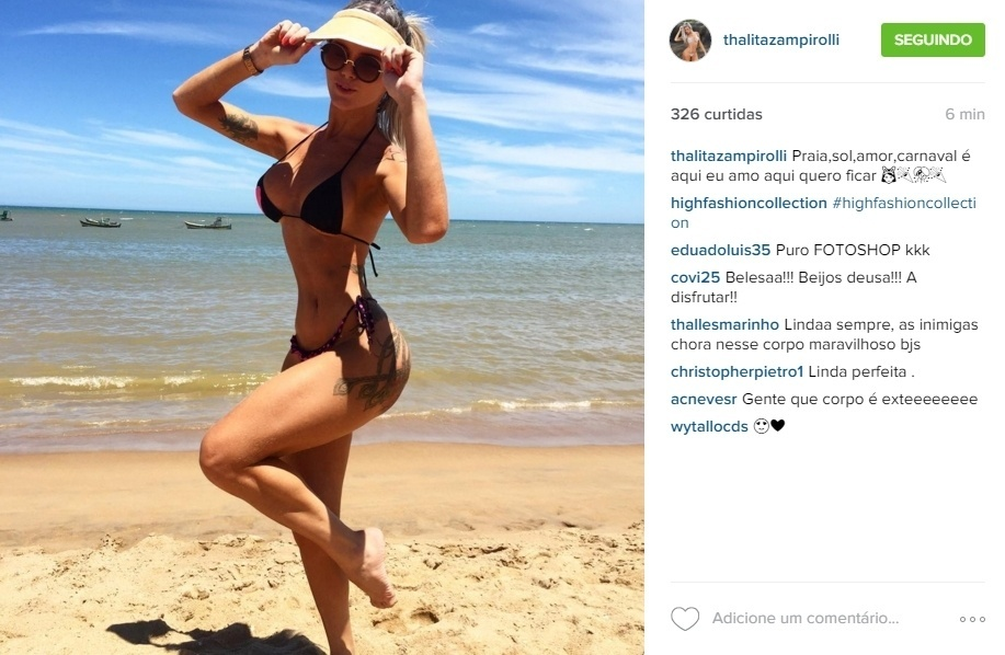 8.jan.2016 - Thalita Zampirolli posta foto na praia e cinturinha fina chama a atenção dos seguidores