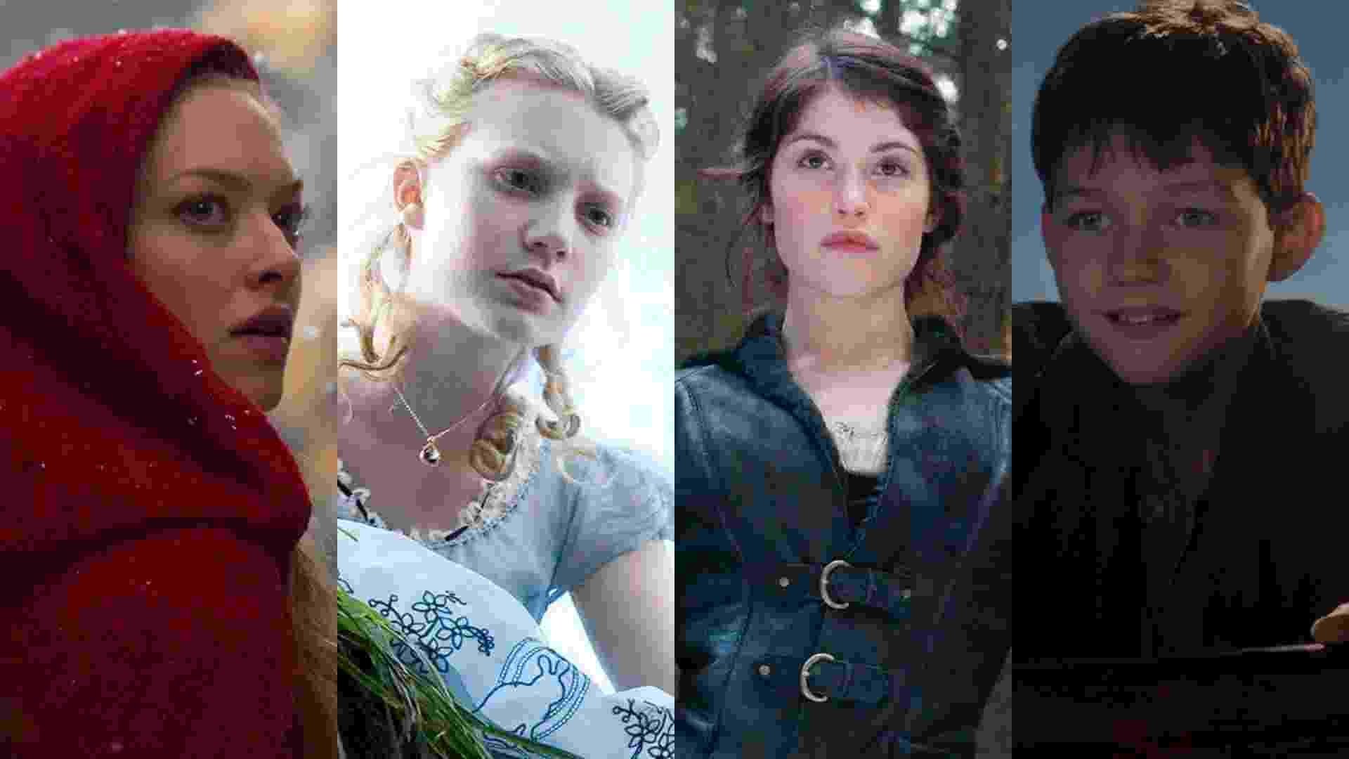 """Cenas dos filmes """"A Garota da Capa Vermelha"""" (2011), de Catherine Hardwicke, """"Alice no País das Maravilhas"""" (2010), de Tim Burton, """"João e Maria: Caçadores de Bruxas"""" (2013), de Tommy Wirkola e """"Peter Pan"""" (2015), de Joe Wright - Reprodução/Montagem"""