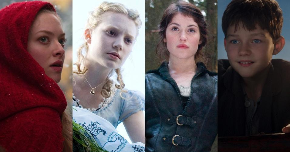 """Cenas dos filmes """"A Garota da Capa Vermelha"""" (2011), de Catherine Hardwicke, """"Alice no País das Maravilhas"""" (2010), de Tim Burton, """"João e Maria: Caçadores de Bruxas"""" (2013), de Tommy Wirkola e """"Peter Pan"""" (2015), de Joe Wright"""