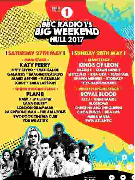 Line up do BBC Radio 1's Big Weekend - Divulgação