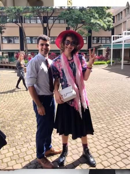 Lucas Jagger se vestiu de mulher na despedida de escola.  - Reprodução/YouTube