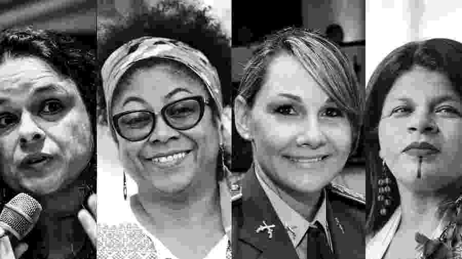 Janaína Paschoal (à esquerda) está entre os nomes femininos cotados para cargo de vice; a professora Ivanete Silva, Carla Basson e Sonia Guajajara estão confirmadas - Montagem/Universa Uol